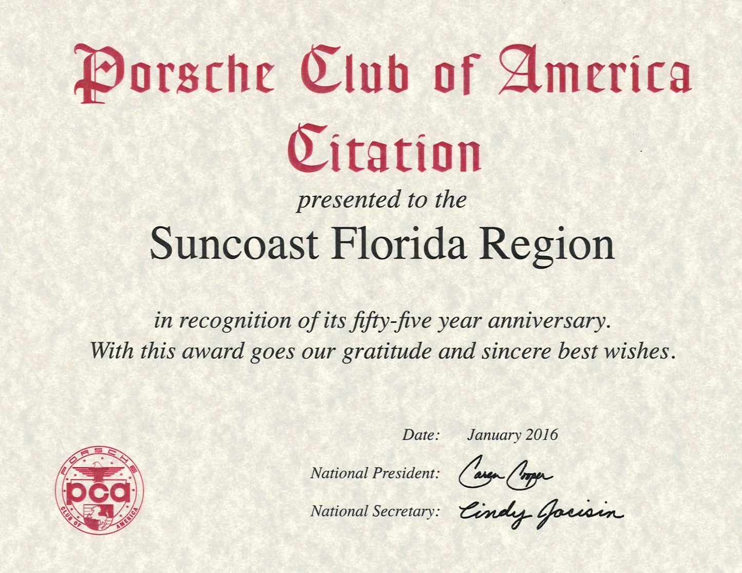 Pca Fifty Five Year Anniversary Certificate Suncoast